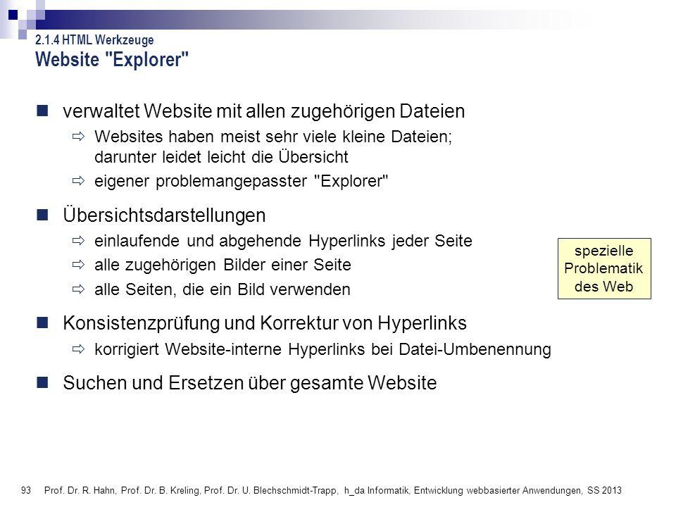 93 Prof. Dr. R. Hahn, Prof. Dr. B. Kreling, Prof. Dr. U. Blechschmidt-Trapp, h_da Informatik, Entwicklung webbasierter Anwendungen, SS 2013 Website