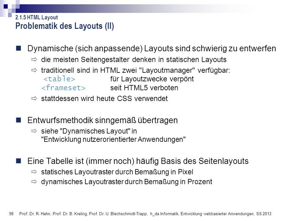 98 Prof. Dr. R. Hahn, Prof. Dr. B. Kreling, Prof. Dr. U. Blechschmidt-Trapp, h_da Informatik, Entwicklung webbasierter Anwendungen, SS 2013 Problemati