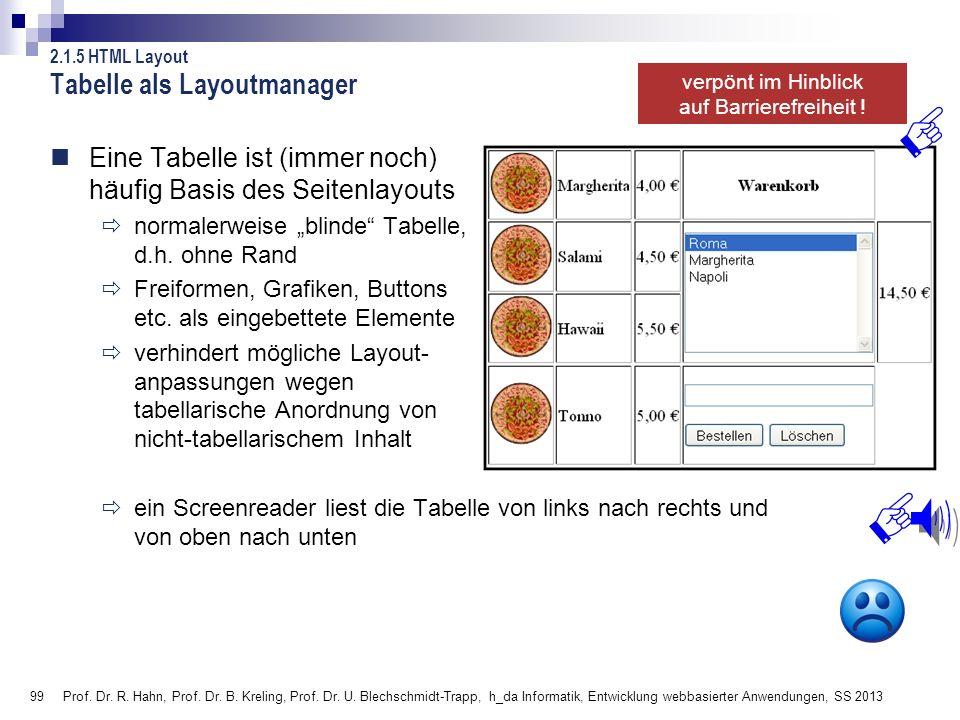 99 Prof. Dr. R. Hahn, Prof. Dr. B. Kreling, Prof. Dr. U. Blechschmidt-Trapp, h_da Informatik, Entwicklung webbasierter Anwendungen, SS 2013 Eine Tabel