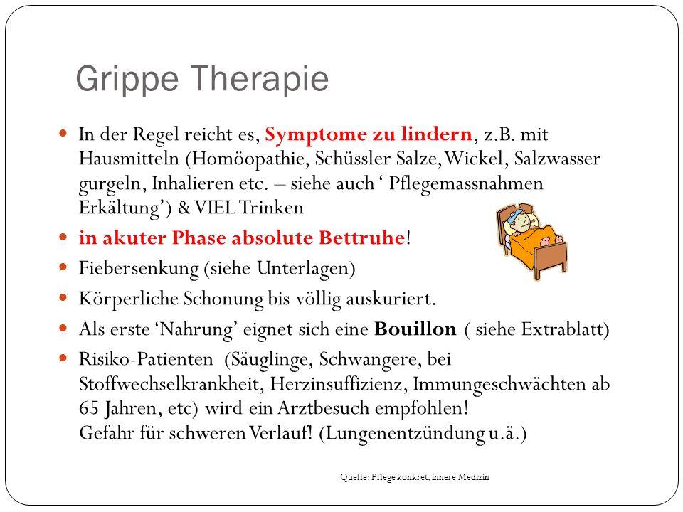 Grippe Therapie In der Regel reicht es, Symptome zu lindern, z.B.