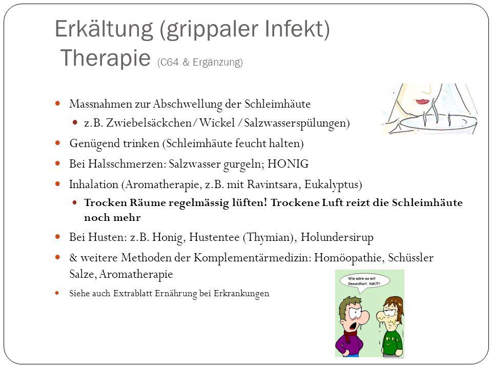 Erkältung (grippaler Infekt) Therapie (C64 & Ergänzung) Massnahmen zur Abschwellung der Schleimhäute z.B.