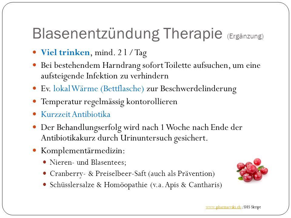 Blasenentzündung Therapie (Ergänzung) Viel trinken, mind.