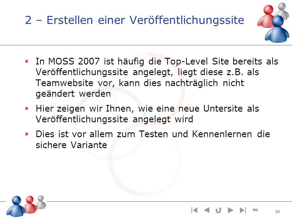2 – Erstellen einer Veröffentlichungssite In MOSS 2007 ist häufig die Top-Level Site bereits als Veröffentlichungssite angelegt, liegt diese z.B. als