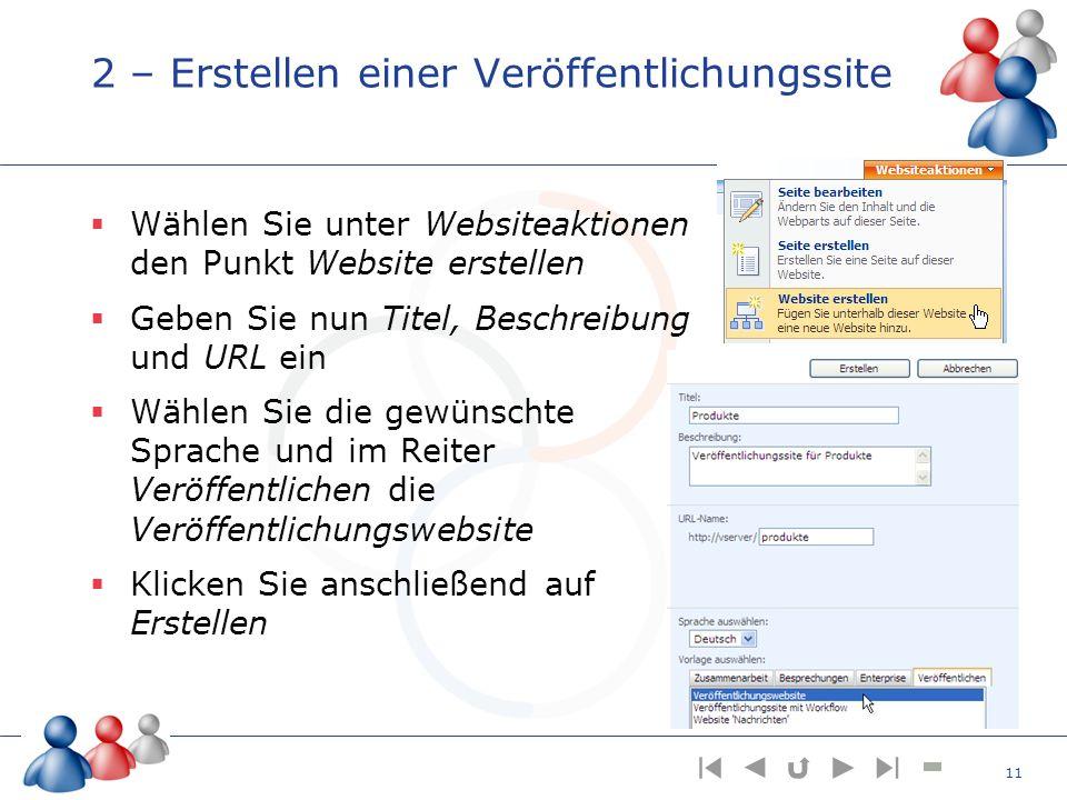 2 – Erstellen einer Veröffentlichungssite Wählen Sie unter Websiteaktionen den Punkt Website erstellen Geben Sie nun Titel, Beschreibung und URL ein W