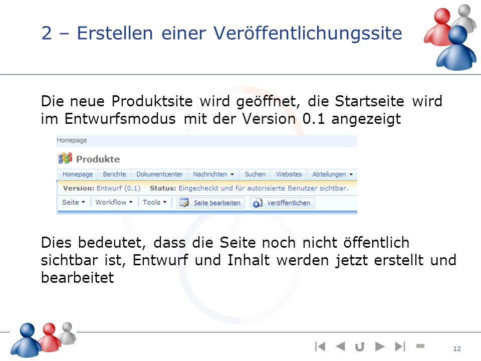 2 – Erstellen einer Veröffentlichungssite Die neue Produktsite wird geöffnet, die Startseite wird im Entwurfsmodus mit der Version 0.1 angezeigt Dies