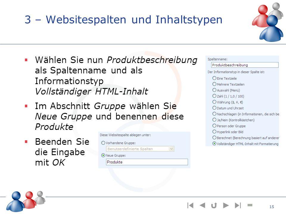 3 – Websitespalten und Inhaltstypen Wählen Sie nun Produktbeschreibung als Spaltenname und als Informationstyp Vollständiger HTML-Inhalt Im Abschnitt