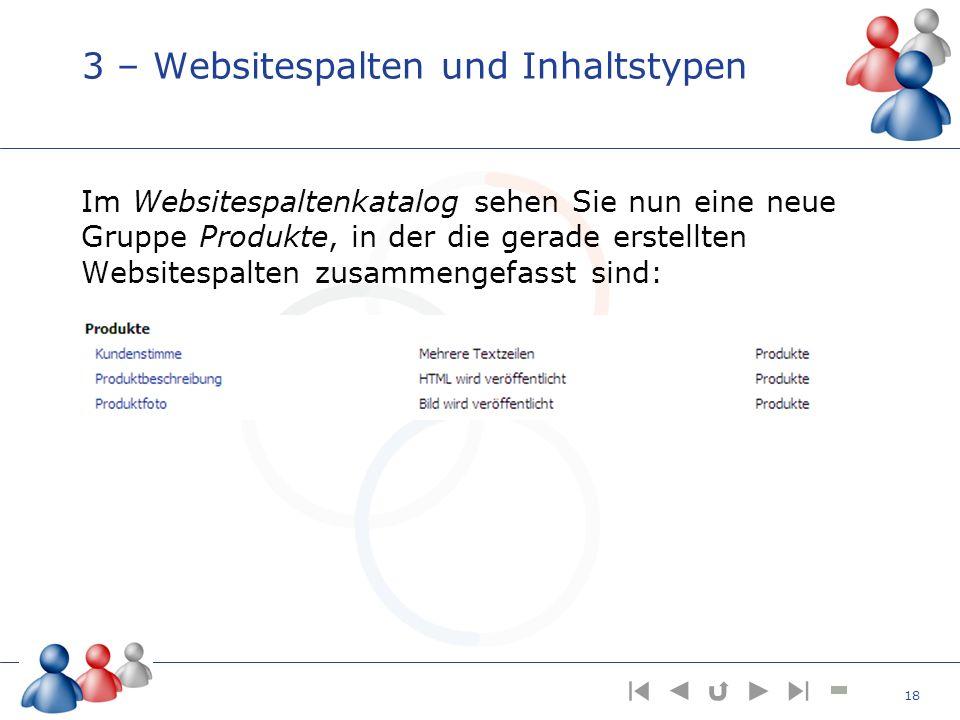 3 – Websitespalten und Inhaltstypen Im Websitespaltenkatalog sehen Sie nun eine neue Gruppe Produkte, in der die gerade erstellten Websitespalten zusa