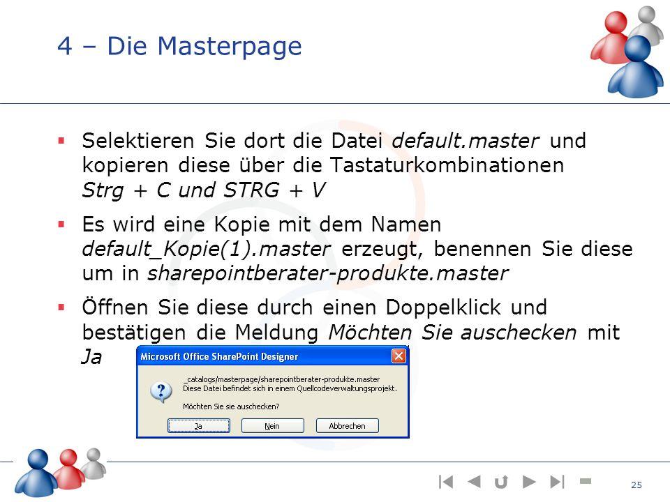 4 – Die Masterpage Selektieren Sie dort die Datei default.master und kopieren diese über die Tastaturkombinationen Strg + C und STRG + V Es wird eine