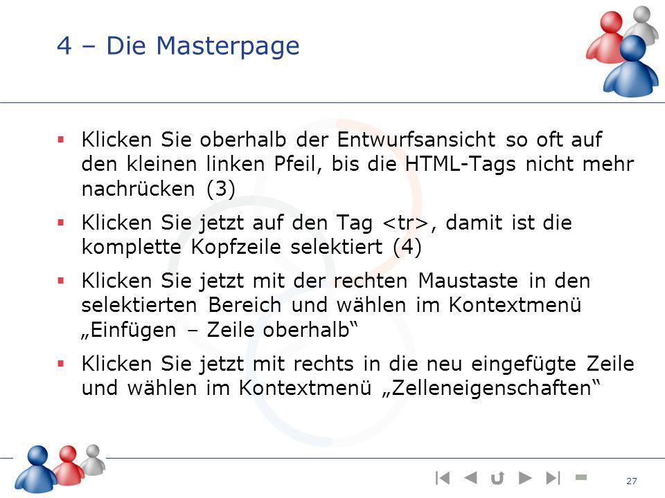4 – Die Masterpage Klicken Sie oberhalb der Entwurfsansicht so oft auf den kleinen linken Pfeil, bis die HTML-Tags nicht mehr nachrücken (3) Klicken S