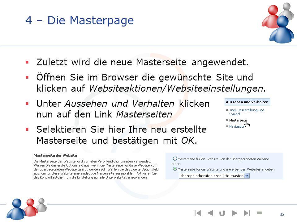 4 – Die Masterpage Zuletzt wird die neue Masterseite angewendet. Öffnen Sie im Browser die gewünschte Site und klicken auf Websiteaktionen/Websiteeins