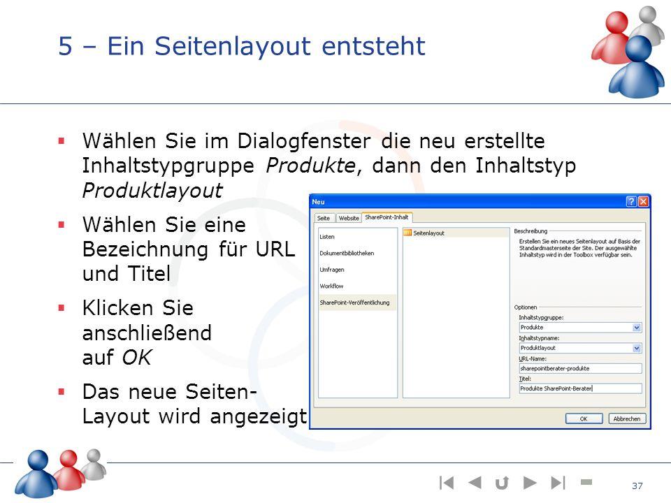 5 – Ein Seitenlayout entsteht Wählen Sie im Dialogfenster die neu erstellte Inhaltstypgruppe Produkte, dann den Inhaltstyp Produktlayout Wählen Sie ei
