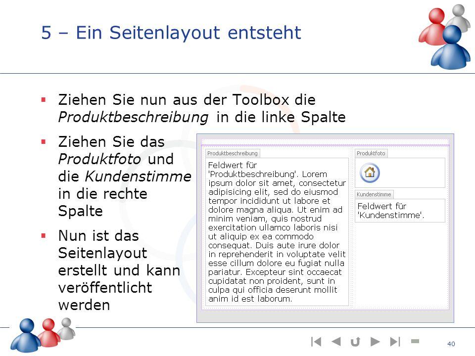 5 – Ein Seitenlayout entsteht Ziehen Sie nun aus der Toolbox die Produktbeschreibung in die linke Spalte Ziehen Sie das Produktfoto und die Kundenstim