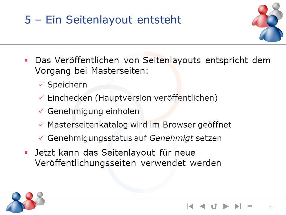 5 – Ein Seitenlayout entsteht Das Veröffentlichen von Seitenlayouts entspricht dem Vorgang bei Masterseiten: Speichern Einchecken (Hauptversion veröff