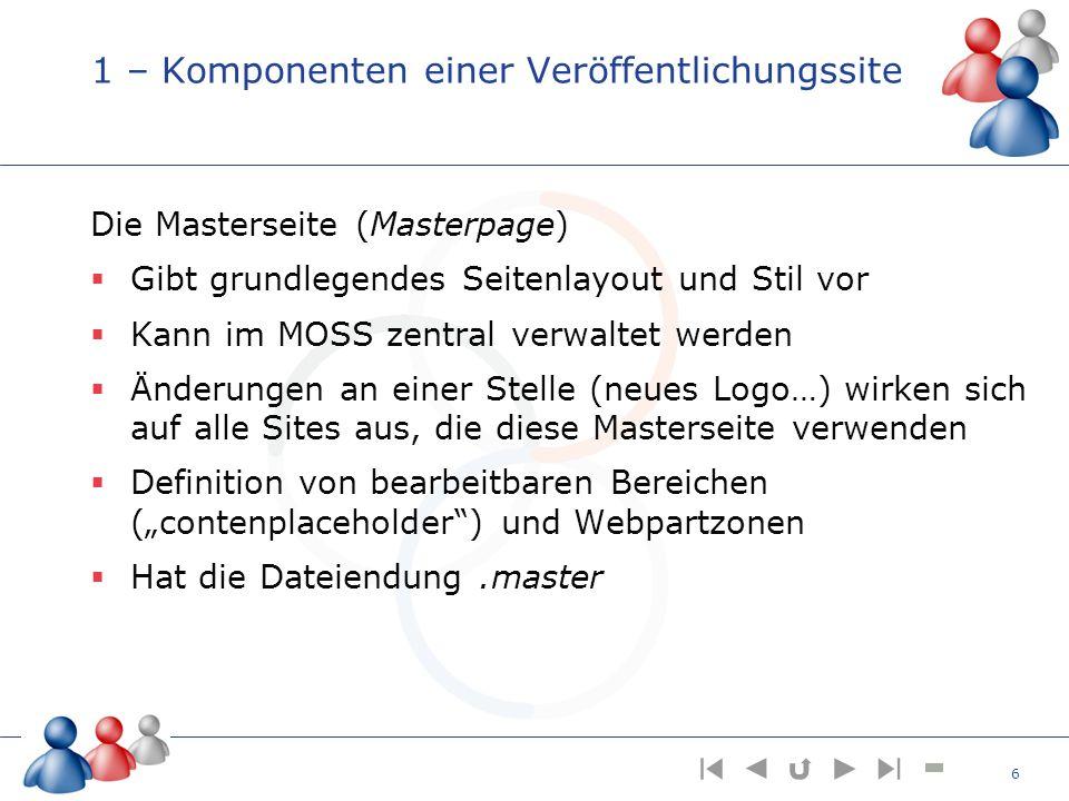 1 – Komponenten einer Veröffentlichungssite Die Masterseite (Masterpage) Gibt grundlegendes Seitenlayout und Stil vor Kann im MOSS zentral verwaltet w