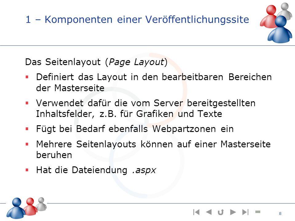 1 – Komponenten einer Veröffentlichungssite Das Seitenlayout (Page Layout) Definiert das Layout in den bearbeitbaren Bereichen der Masterseite Verwend