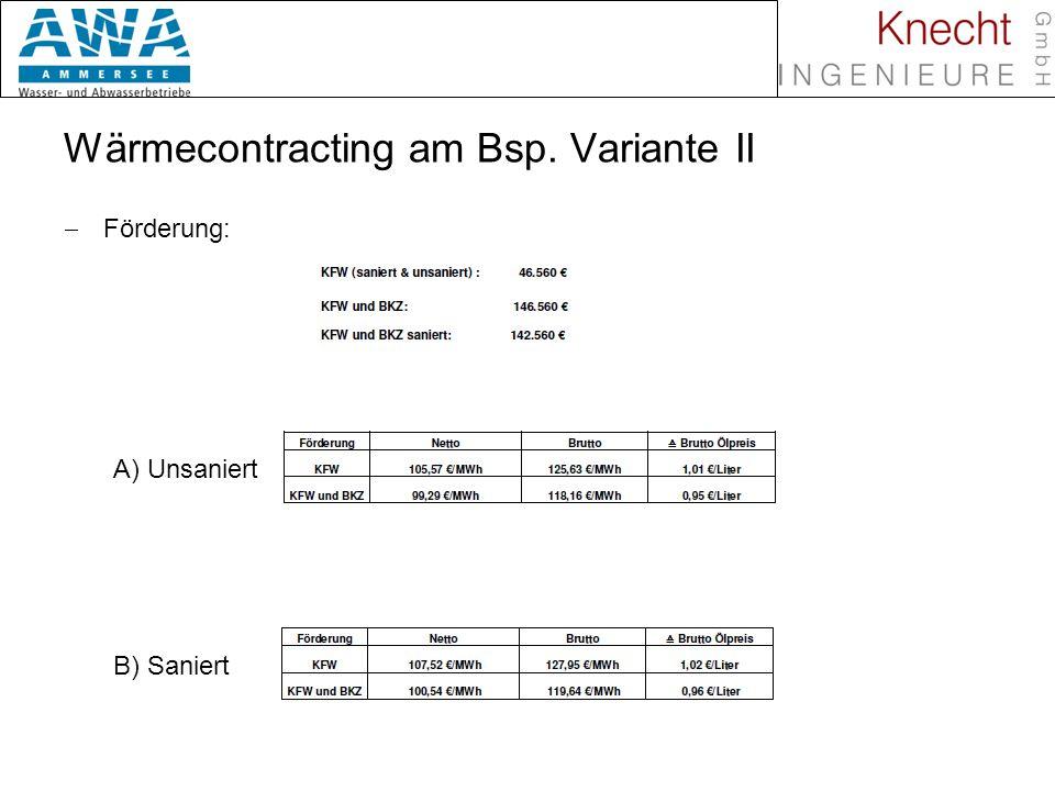 Biomasse in Nahwärmenetzen Wärmecontracting am Bsp. Variante II Förderung: A) Unsaniert B) Saniert