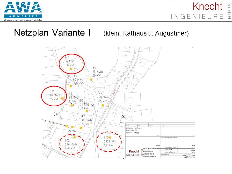 Biomasse in Nahwärmenetzen Netzplan Variante I (klein, Rathaus u. Augustiner)