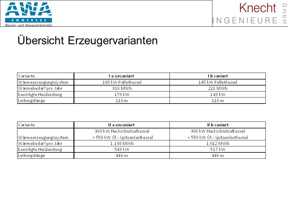 Biomasse in Nahwärmenetzen Investitionskosten Variante I a unsaniert: 156.232,- Variante I b saniert:146.292,- Variante II (a & b): 471.758,-
