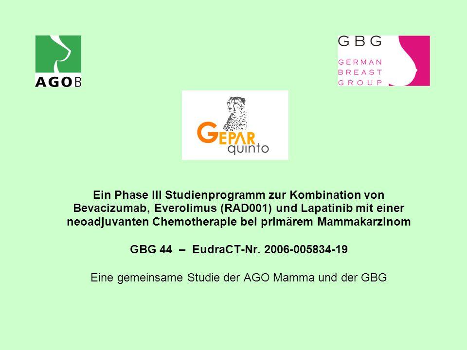 Ein Phase III Studienprogramm zur Kombination von Bevacizumab, Everolimus (RAD001) und Lapatinib mit einer neoadjuvanten Chemotherapie bei primärem Ma