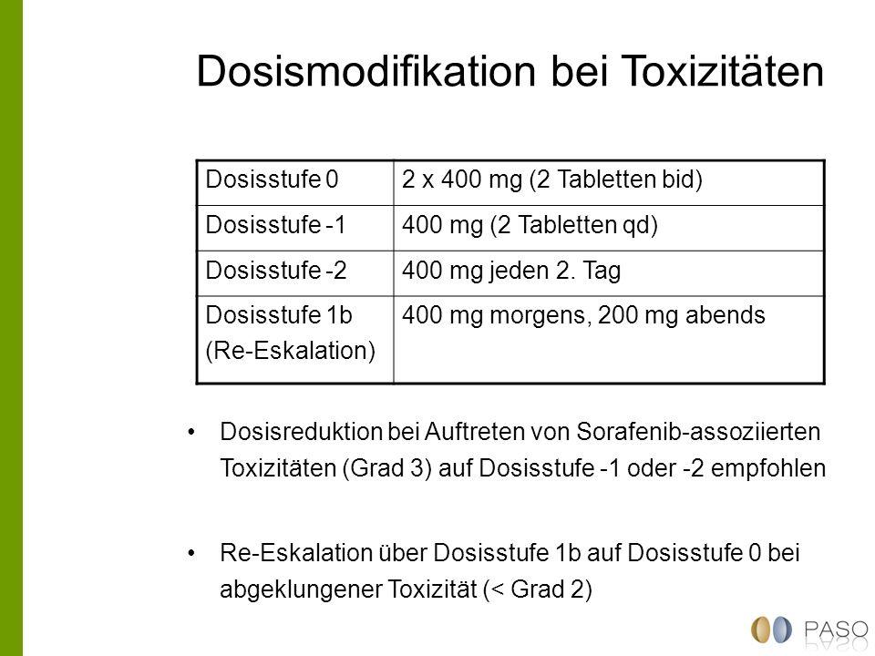Dosismodifikation bei Toxizitäten Dosisreduktion bei Auftreten von Sorafenib-assoziierten Toxizitäten (Grad 3) auf Dosisstufe -1 oder -2 empfohlen Re-