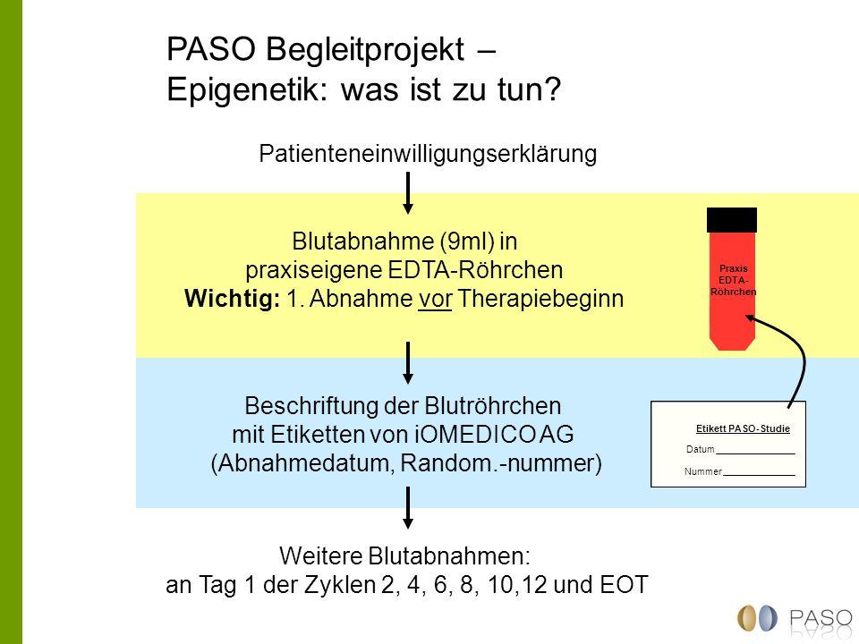 PASO Begleitprojekt – Epigenetik: was ist zu tun? Blutabnahme (9ml) in praxiseigene EDTA-Röhrchen Wichtig: 1. Abnahme vor Therapiebeginn Patienteneinw