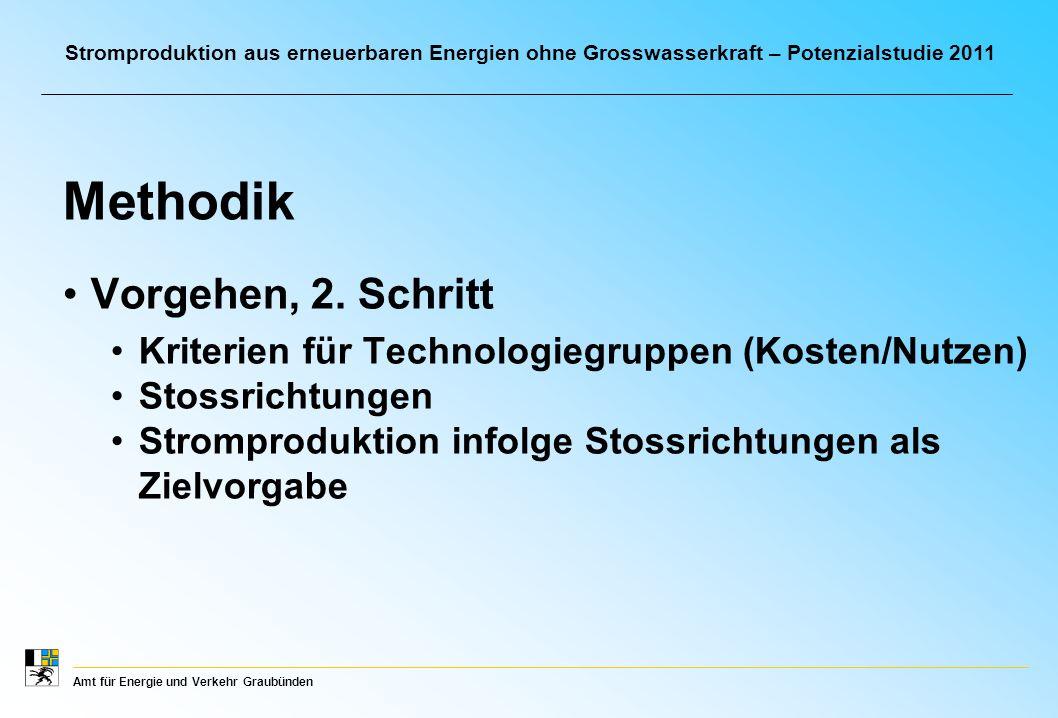 Amt für Energie und Verkehr Graubünden Stromproduktion aus erneuerbaren Energien ohne Grosswasserkraft – Potenzialstudie 2011 Vorgehen, 2.
