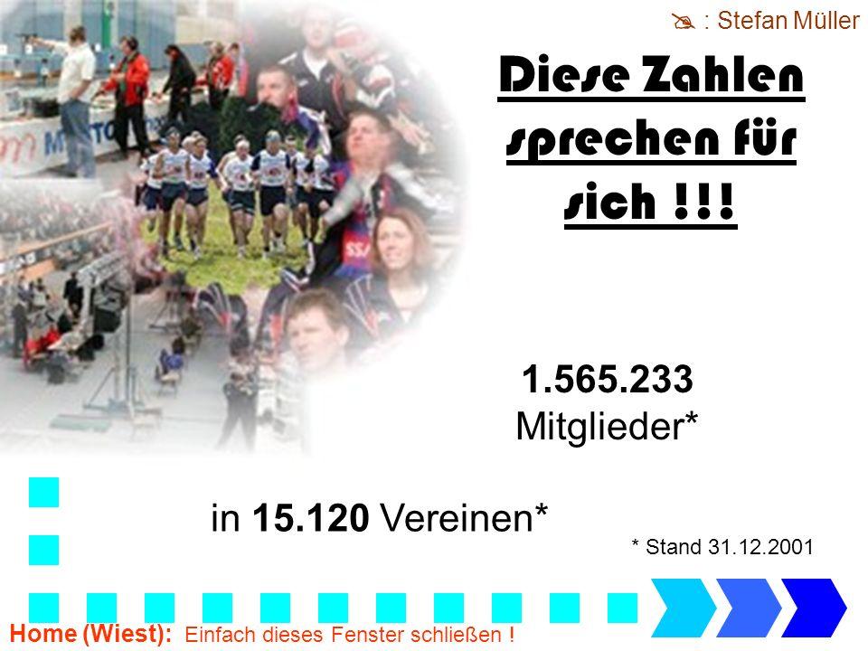 1.565.233 Mitglieder* in 15.120 Vereinen* Diese Zahlen sprechen für sich !!! * Stand 31.12.2001 : Stefan Müller Home (Wiest): Einfach dieses Fenster s