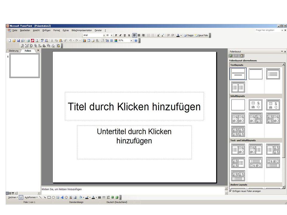 26 http://www.swisseduc.ch/methodik_didaktik/powerpoint_learning/ http://www.studium-und-pc.de Internet Adressen zu Power Point