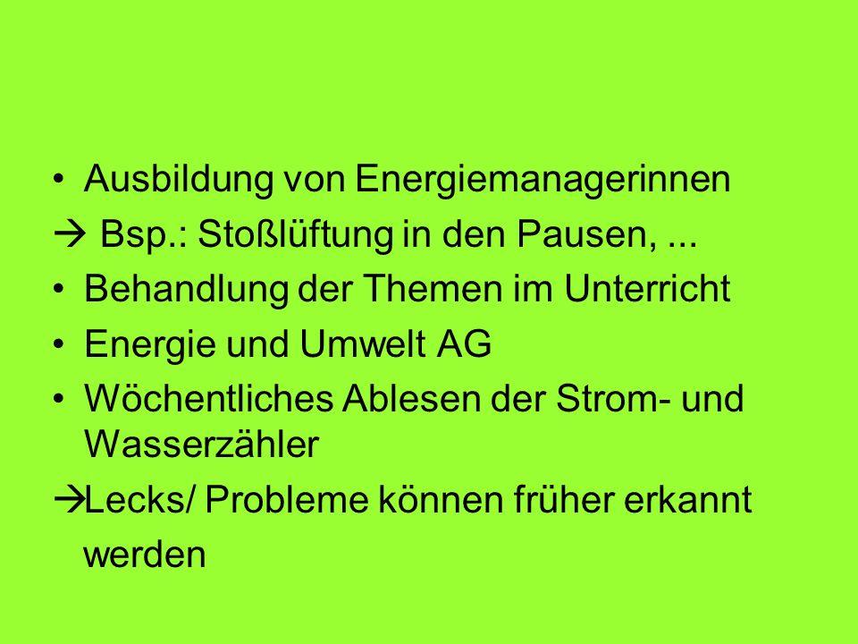 Ausbildung von Energiemanagerinnen Bsp.: Stoßlüftung in den Pausen,... Behandlung der Themen im Unterricht Energie und Umwelt AG Wöchentliches Ablesen