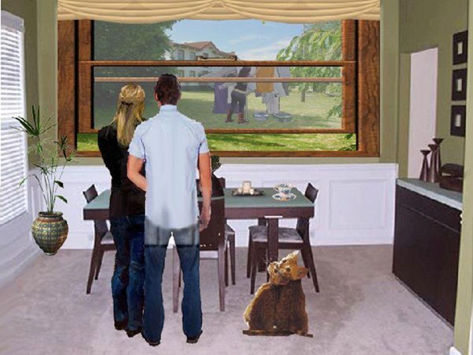 Am nächsten Morgen, als das junge Paar auf dem Weg durch den Garten ins Esszimmer war, sah die Frau ihre Nachbarin die Wäsche an die Leine hängen.