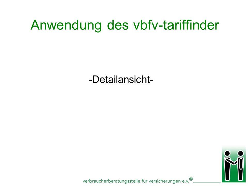 -Detailansicht- Anwendung des vbfv-tariffinder