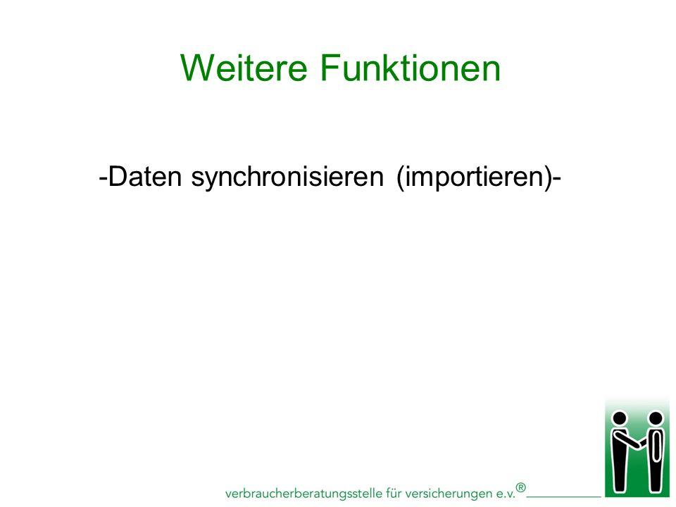 -Daten synchronisieren (importieren)- Weitere Funktionen