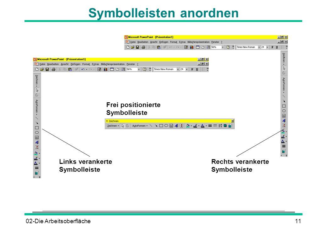 02-Die Arbeitsoberfläche11 Symbolleisten anordnen Rechts verankerte Symbolleiste Links verankerte Symbolleiste Frei positionierte Symbolleiste