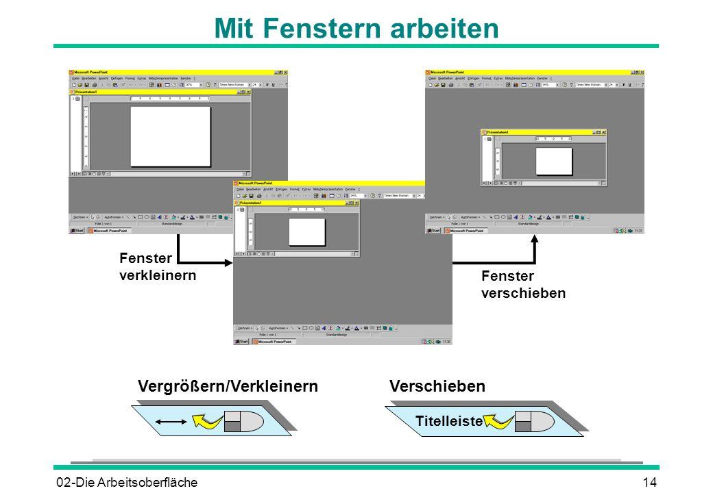 02-Die Arbeitsoberfläche14 Mit Fenstern arbeiten Fenster verkleinern Fenster verschieben Vergrößern/VerkleinernVerschieben Titelleiste