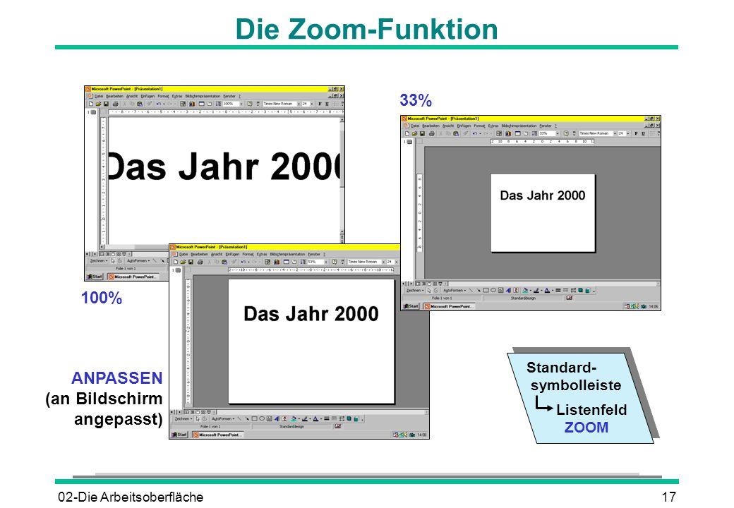 02-Die Arbeitsoberfläche17 Die Zoom-Funktion Standard- symbolleiste Listenfeld ZOOM ANPASSEN (an Bildschirm angepasst) 100% 33%