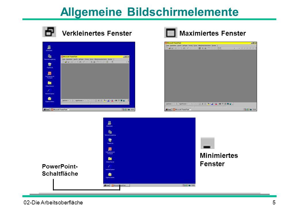 02-Die Arbeitsoberfläche6 Elemente des Anwendungsfensters Menüleiste Symbolleisten Statusleiste Office-Assistent Hilfe zu allen PowerPoint-Themen Direkter Zugriff auf häufig gebrauchte Funktionen Hinweise zum Programmstatus