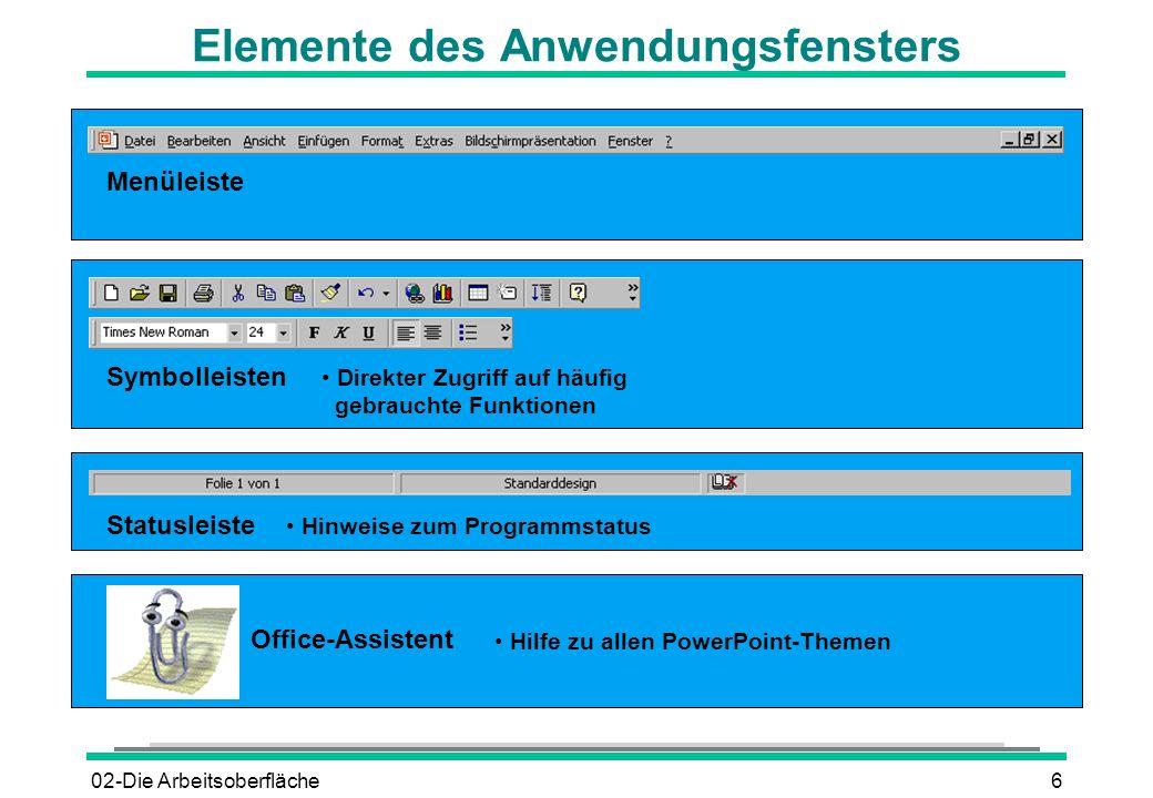 02-Die Arbeitsoberfläche6 Elemente des Anwendungsfensters Menüleiste Symbolleisten Statusleiste Office-Assistent Hilfe zu allen PowerPoint-Themen Dire