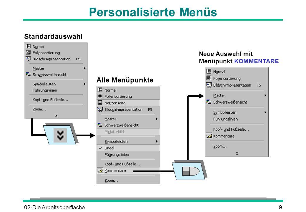 02-Die Arbeitsoberfläche9 Personalisierte Menüs Standardauswahl Alle Menüpunkte Neue Auswahl mit Menüpunkt KOMMENTARE