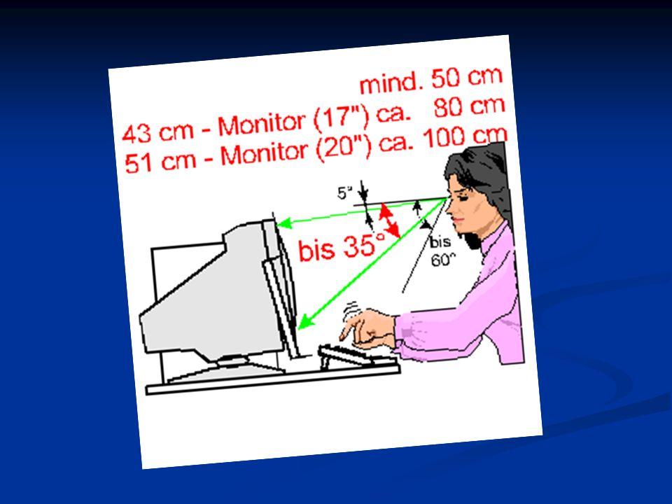 3. Bildschirm der Bildschirm soll nach Höhe und Neigung einstellbar sein flimmerfrei der Bildschirm soll vom TÜV geprüft sein Bildschirmhöhe und -neig