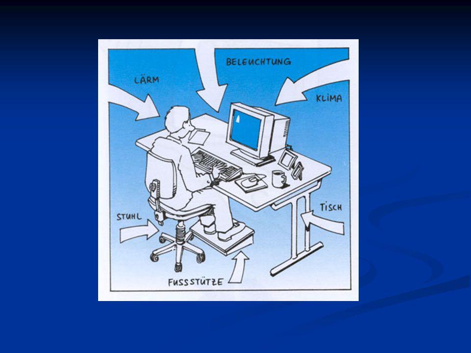 8. Arbeitsmedizinische Vorsorge Erstuntersuchung (Überprüfung des Sehvermögens) vor Aufnahme der Bildschirmtätigkeit beim Betriebsarzt Nachuntersuchun