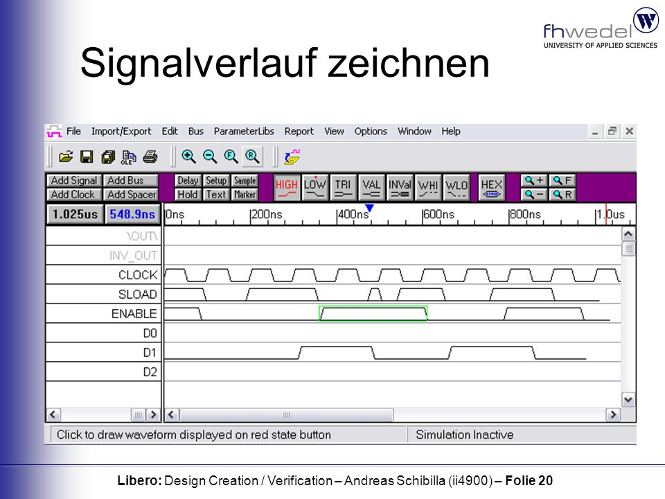 Libero: Design Creation / Verification – Andreas Schibilla (ii4900) – Folie 20 Signalverlauf zeichnen