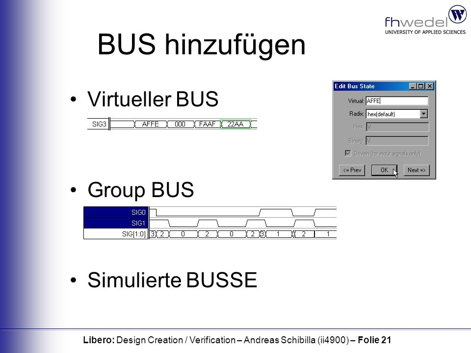 Libero: Design Creation / Verification – Andreas Schibilla (ii4900) – Folie 21 BUS hinzufügen Virtueller BUS Group BUS Simulierte BUSSE