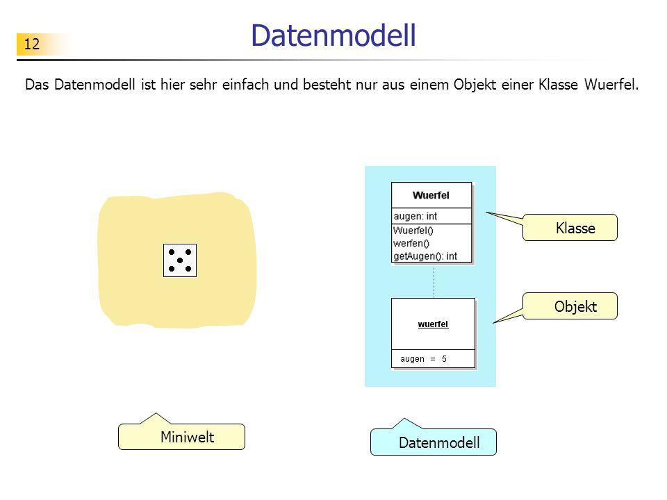 12 Datenmodell Das Datenmodell ist hier sehr einfach und besteht nur aus einem Objekt einer Klasse Wuerfel. Klasse Objekt Datenmodell Miniwelt