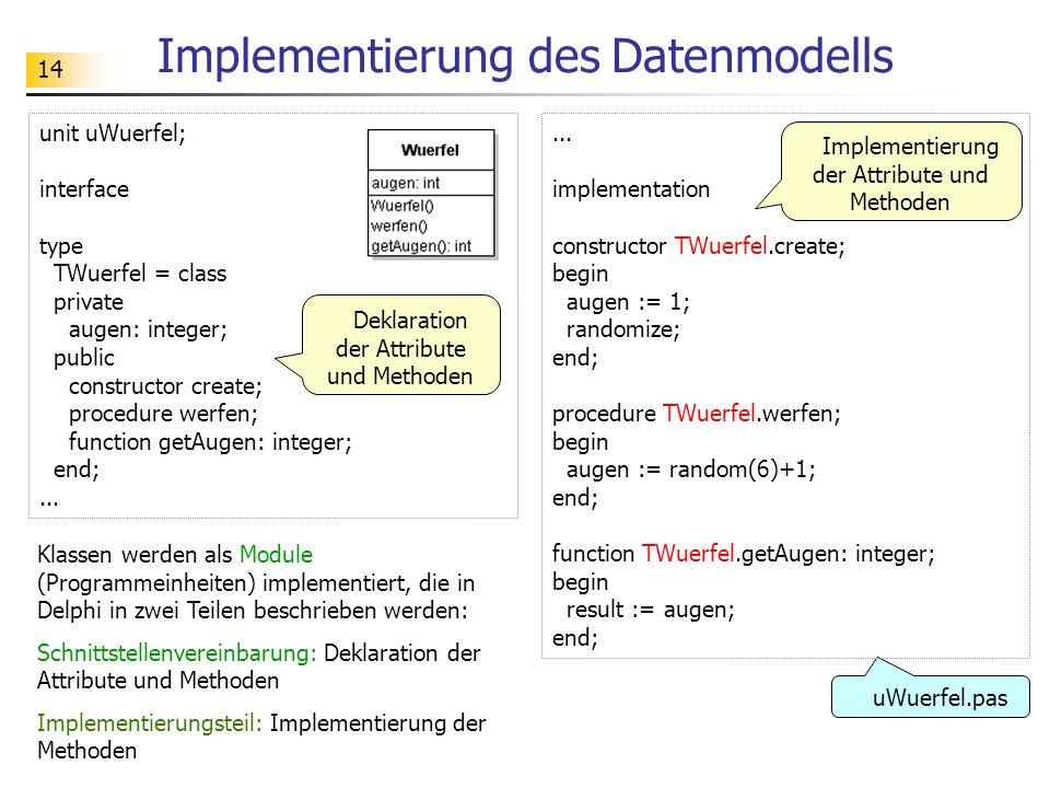 14 Implementierung des Datenmodells unit uWuerfel; interface type TWuerfel = class private augen: integer; public constructor create; procedure werfen