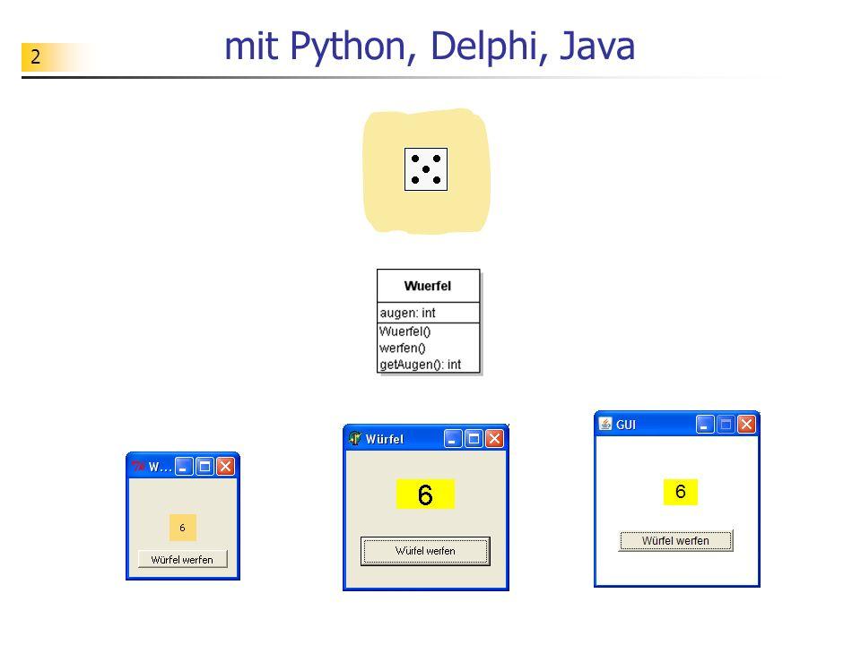 2 mit Python, Delphi, Java