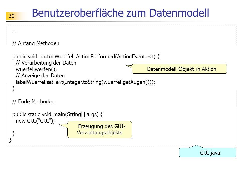 30 Benutzeroberfläche zum Datenmodell … // Anfang Methoden public void buttonWuerfel_ActionPerformed(ActionEvent evt) { // Verarbeitung der Daten wuer