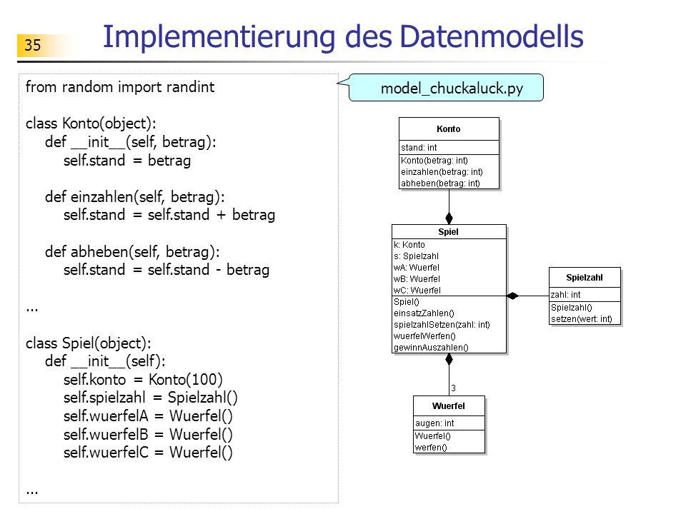 35 Implementierung des Datenmodells from random import randint class Konto(object): def __init__(self, betrag): self.stand = betrag def einzahlen(self