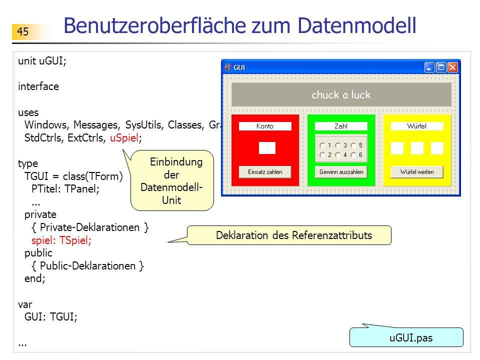 45 Benutzeroberfläche zum Datenmodell unit uGUI; interface uses Windows, Messages, SysUtils, Classes, Graphics, Controls, Forms, Dialogs, StdCtrls, Ex