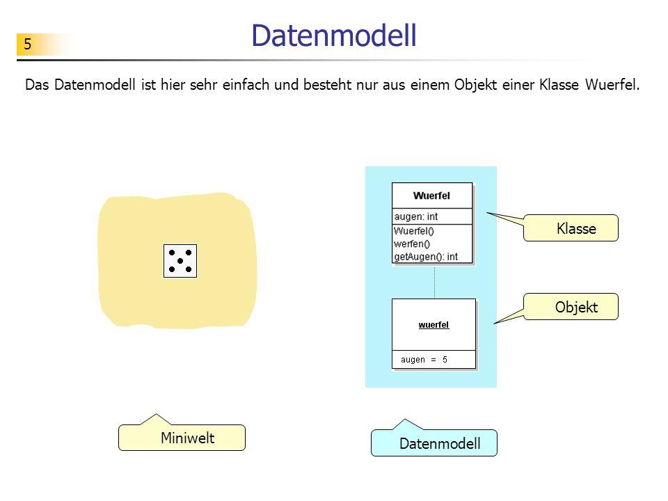 5 Datenmodell Das Datenmodell ist hier sehr einfach und besteht nur aus einem Objekt einer Klasse Wuerfel. Klasse Objekt Datenmodell Miniwelt