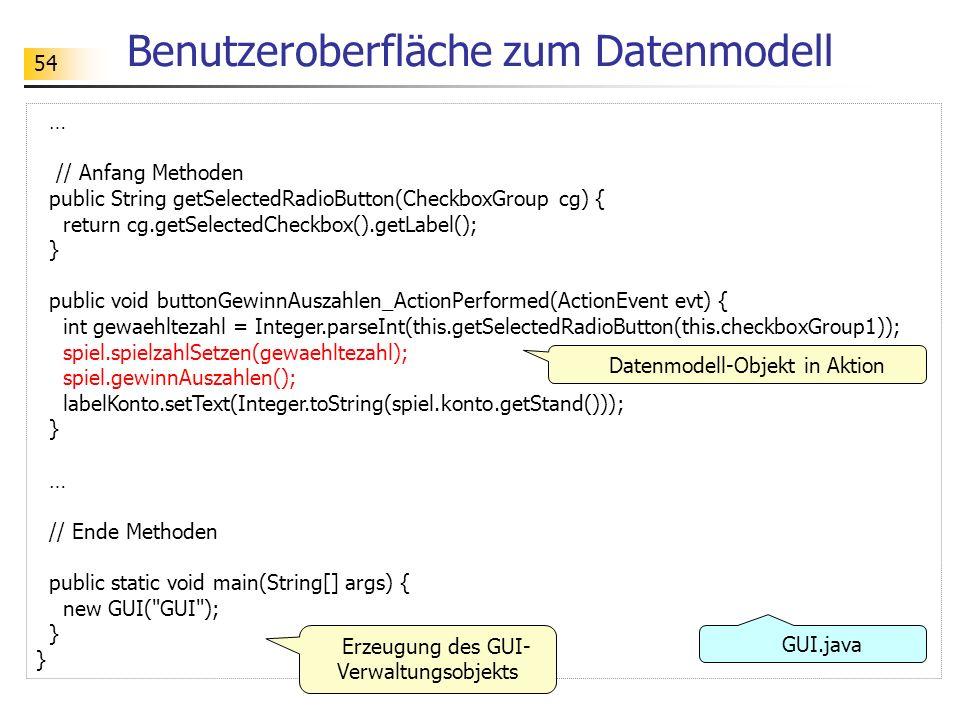 54 Benutzeroberfläche zum Datenmodell … // Anfang Methoden public String getSelectedRadioButton(CheckboxGroup cg) { return cg.getSelectedCheckbox().ge